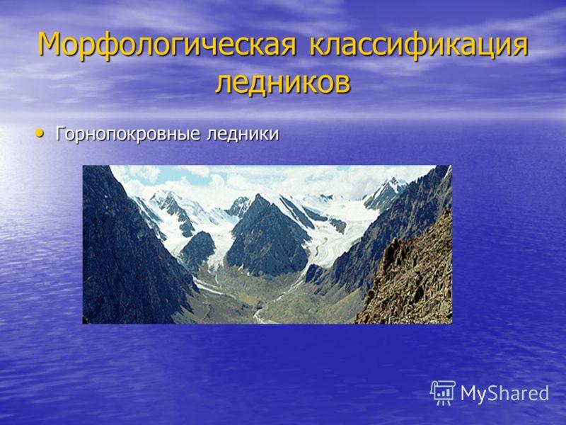 Морфологическая классификация ледников Горнопокровные ледники Горнопокровные ледники