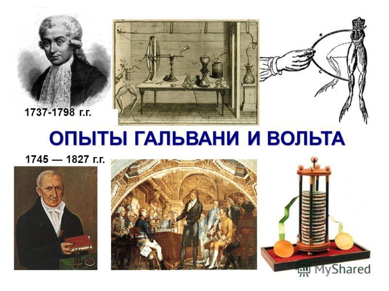 ОПЫТЫ ГАЛЬВАНИ И ВОЛЬТА 1737-1798 г.г. 1745 1827 г.г.