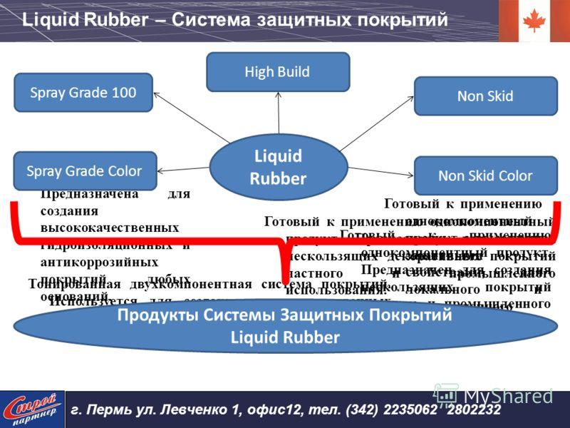 Liquid Rubber Spray Grade 100 Двухкомпонентное покрытие. Предназначена для создания высококачественных гидроизоляционных и антикоррозийных покрытий любых оснований. Spray Grade Color Тонированная двухкомпонентная система покрытий. Используется для со