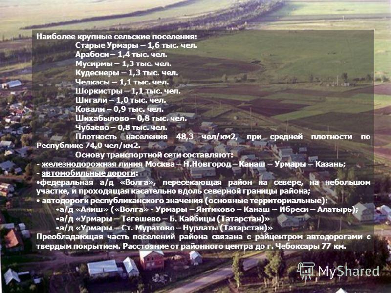 Наиболее крупные сельские поселения: Старые Урмары – 1,6 тыс. чел. Арабоси – 1,4 тыс. чел. Мусирмы – 1,3 тыс. чел. Кудеснеры – 1,3 тыс. чел. Челкасы – 1,1 тыс. чел. Шоркистры – 1,1 тыс. чел. Шигали – 1,0 тыс. чел. Ковали – 0,9 тыс. чел. Шихабылово –