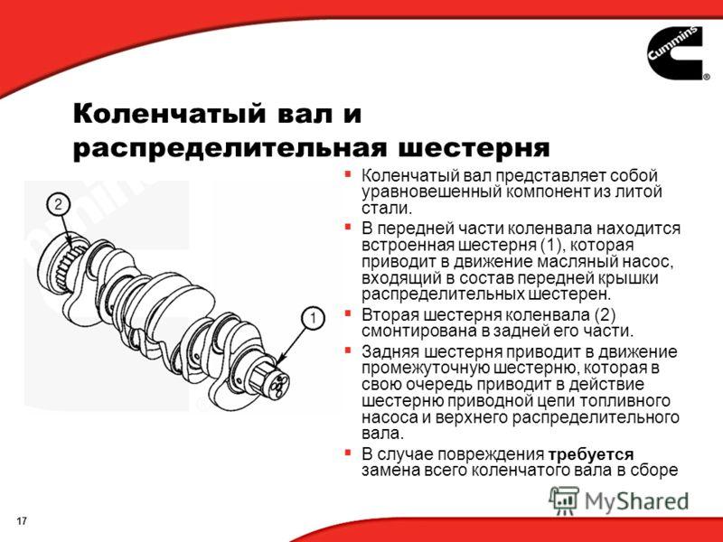 17 Коленчатый вал и распределительная шестерня Коленчатый вал представляет собой уравновешенный компонент из литой стали. В передней части коленвала находится встроенная шестерня (1), которая приводит в движение масляный насос, входящий в состав пере