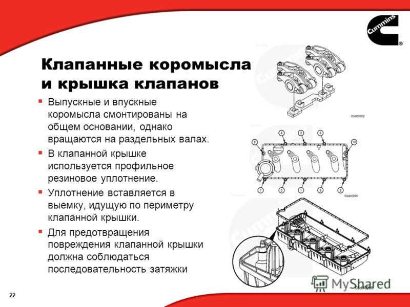 22 Клапанные коромысла и крышка клапанов Выпускные и впускные коромысла смонтированы на общем основании, однако вращаются на раздельных валах. В клапанной крышке используется профильное резиновое уплотнение. Уплотнение вставляется в выемку, идущую по