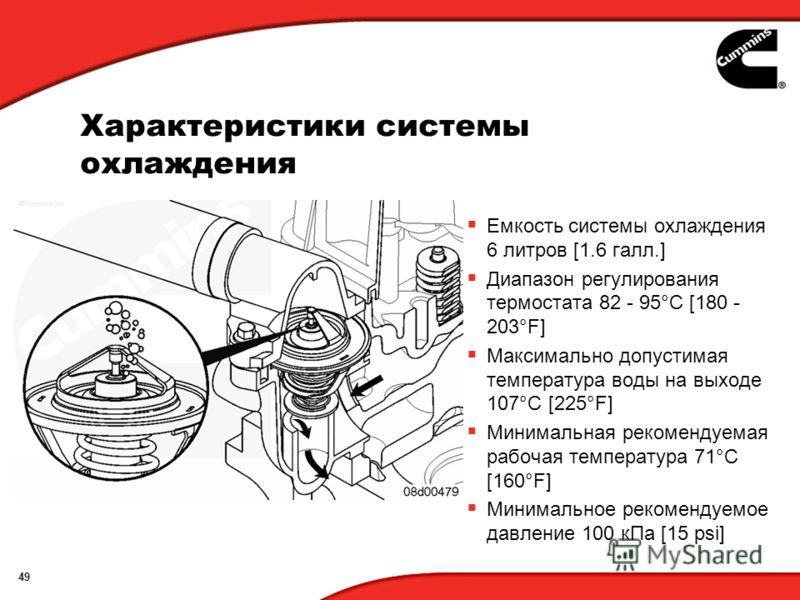 49 Характеристики системы охлаждения Емкость системы охлаждения 6 литров [1.6 галл.] Диапазон регулирования термостата 82 - 95°C [180 - 203°F] Максимально допустимая температура воды на выходе 107°C [225°F] Минимальная рекомендуемая рабочая температу