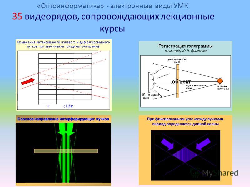 «Оптоинформатика» - электронные виды УМК 35 видеорядов, сопровождающих лекционные курсы