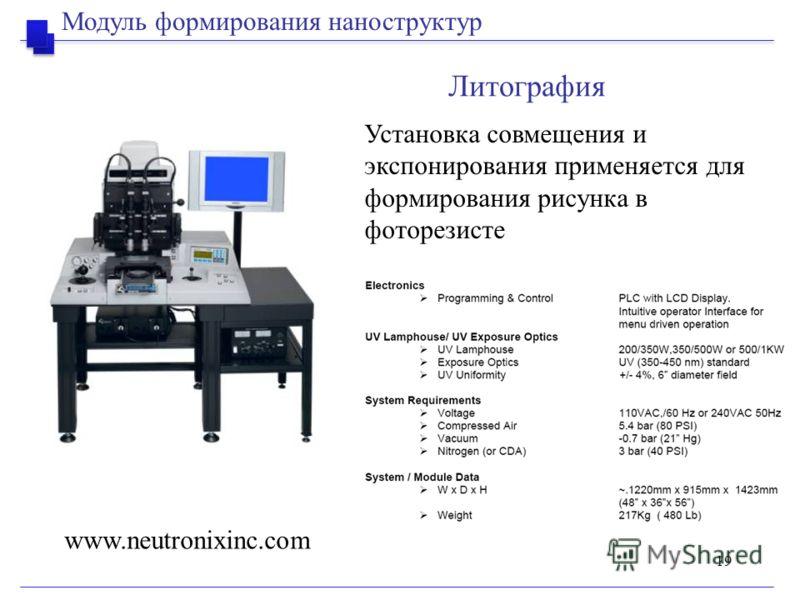 19 Литография www.neutronixinc.com Установка совмещения и экспонирования применяется для формирования рисунка в фоторезисте Модуль формирования наноструктур