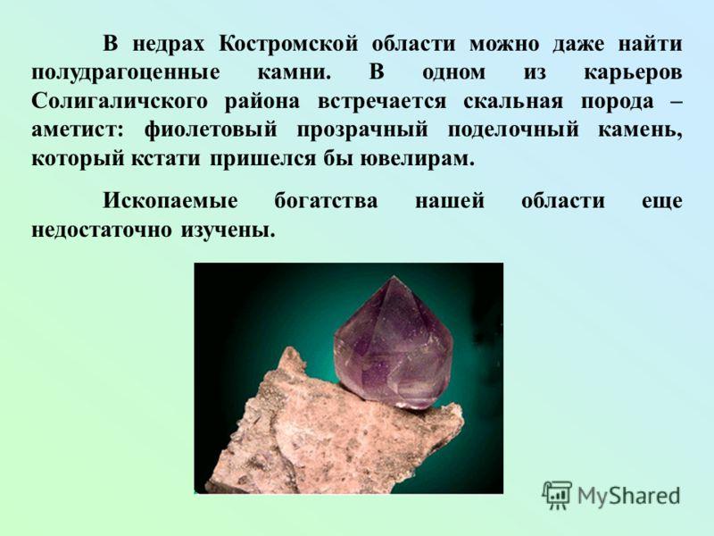 В недрах Костромской области можно даже найти полудрагоценные камни. В одном из карьеров Солигаличского района встречается скальная порода – аметист: фиолетовый прозрачный поделочный камень, который кстати пришелся бы ювелирам. Ископаемые богатства н