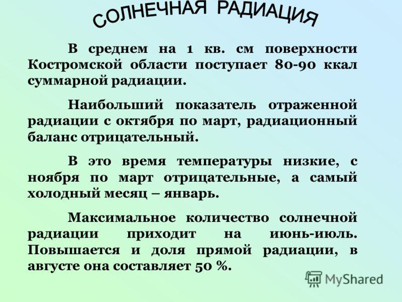 В среднем на 1 кв. см поверхности Костромской области поступает 80-90 ккал суммарной радиации. Наибольший показатель отраженной радиации с октября по март, радиационный баланс отрицательный. В это время температуры низкие, с ноября по март отрицатель