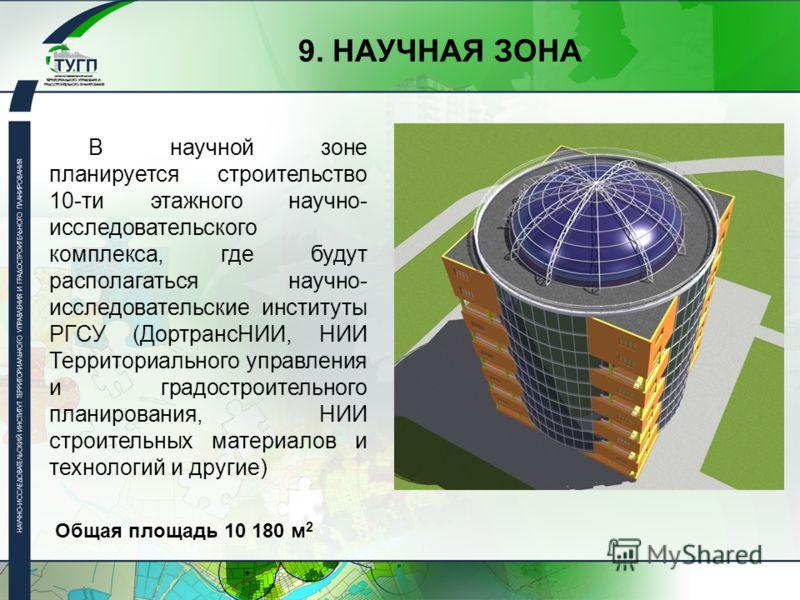 В научной зоне планируется строительство 10-ти этажного научно- исследовательского комплекса, где будут располагаться научно- исследовательские институты РГСУ (ДортрансНИИ, НИИ Территориального управления и градостроительного планирования, НИИ строит