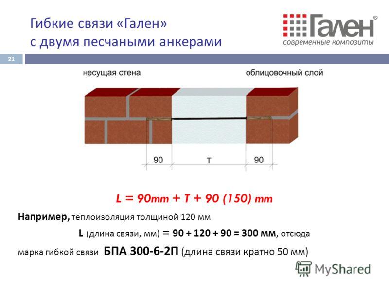 Гибкие связи « Гален » с двумя песчаными анкерами L = 90mm + T + 90 (150) mm Например, теплоизоляция толщиной 120 мм L ( длина связи, мм) = 90 + 120 + 90 = 300 мм, отсюда марка гибкой связи БПА 300-6-2П (длина связи кратно 50 мм) 21