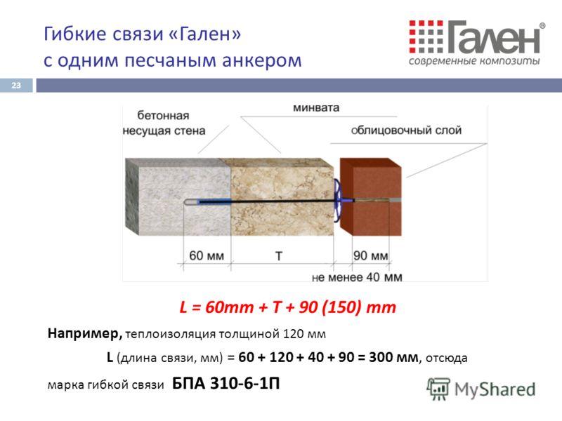 L = 60mm + T + 90 (150) mm Например, теплоизоляция толщиной 120 мм L (длина связи, мм) = 60 + 120 + 40 + 90 = 300 мм, отсюда марка гибкой связи БПА 310-6-1П Гибкие связи « Гален » с одним песчаным анкером 23