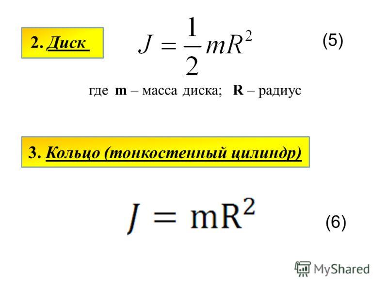 2. Диск (5) гдеm – масса диска;R – радиус 3. Кольцо (тонкостенный цилиндр) (6)