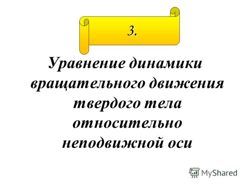 Уравнение динамики вращательного движения твердого тела относительно неподвижной оси 3.