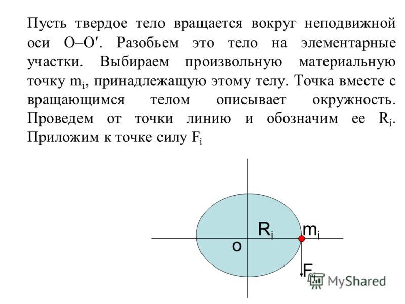 Пусть твердое тело вращается вокруг неподвижной оси О–О. Разобьем это тело на элементарные участки. Выбираем произвольную материальную точку m i, принадлежащую этому телу. Точка вместе с вращающимся телом описывает окружность. Проведем от точки линию