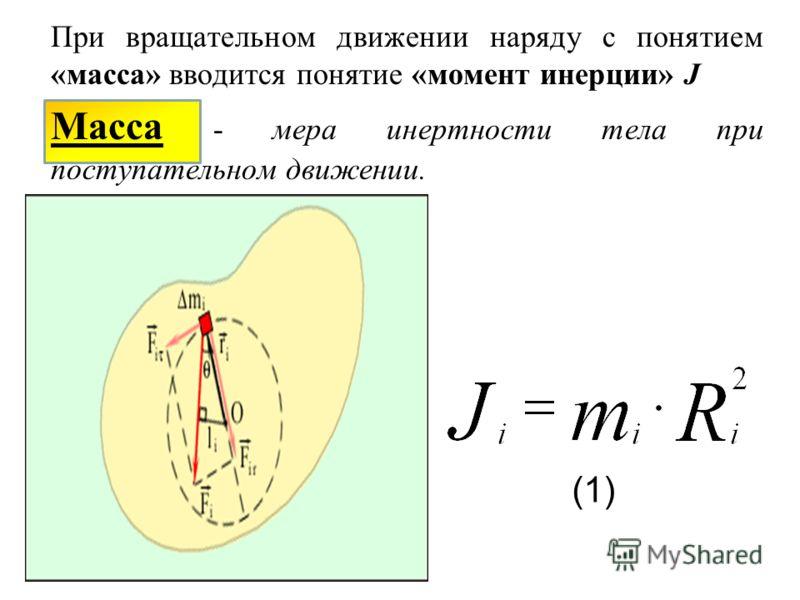 При вращательном движении наряду с понятием «масса» вводится понятие «момент инерции» J Масса - мера инертности тела при поступательном движении. (1)