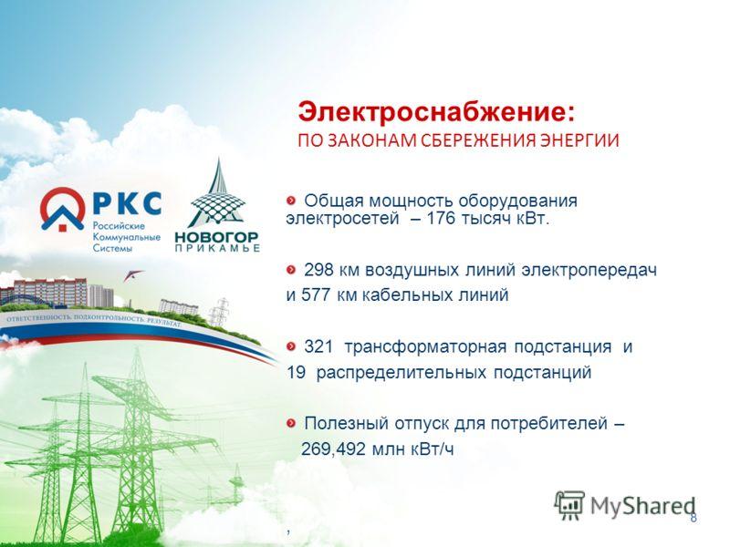 8 Общая мощность оборудования электросетей – 176 тысяч кВт. 298 км воздушных линий электропередач и 577 км кабельных линий 321 трансформаторная подстанция и 19 распределительных подстанций Полезный отпуск для потребителей – 269,492 млн кВт/ч, Электро