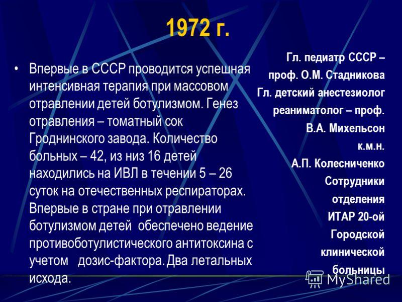 1972 г. Впервые в СССР проводится успешная интенсивная терапия при массовом отравлении детей ботулизмом. Генез отравления – томатный сок Гроднинского завода. Количество больных – 42, из низ 16 детей находились на ИВЛ в течении 5 – 26 суток на отечест