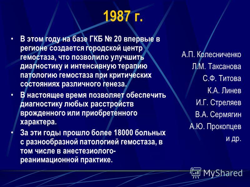 1987 г. В этом году на базе ГКБ 20 впервые в регионе создается городской центр гемостаза, что позволило улучшить диагностику и интенсивную терапию патологию гемостаза при критических состояниях различного генеза. В настоящее время позволяет обеспечит