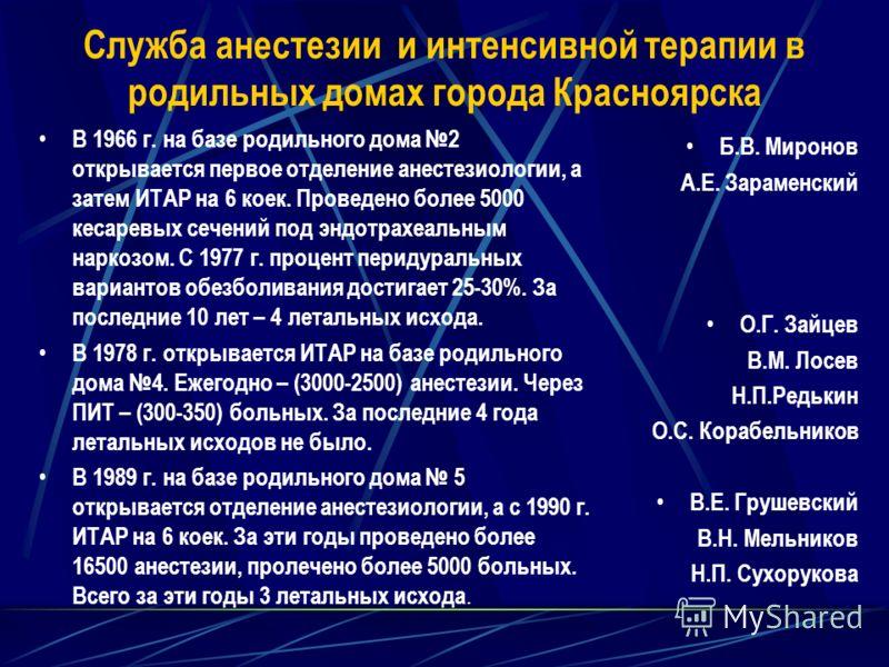 Служба анестезии и интенсивной терапии в родильных домах города Красноярска В 1966 г. на базе родильного дома 2 открывается первое отделение анестезиологии, а затем ИТАР на 6 коек. Проведено более 5000 кесаревых сечений под эндотрахеальным наркозом.