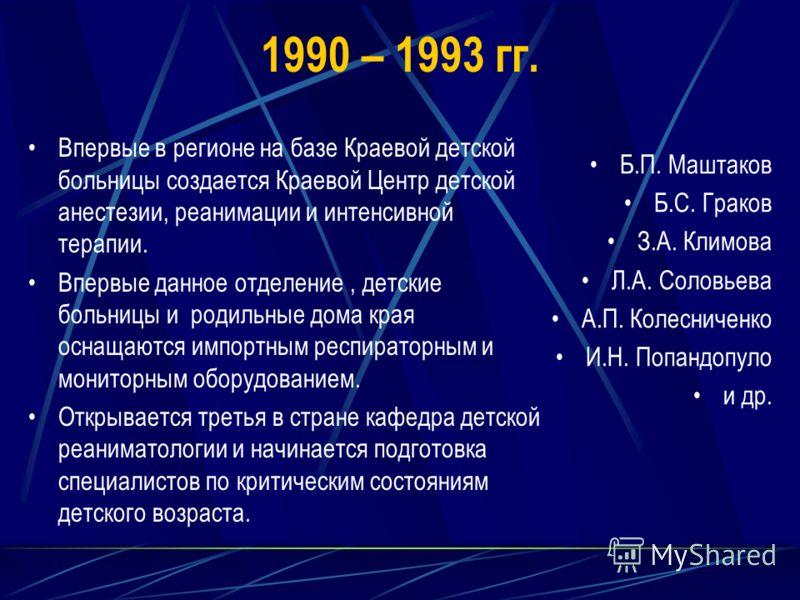 1990 – 1993 гг. Впервые в регионе на базе Краевой детской больницы создается Краевой Центр детской анестезии, реанимации и интенсивной терапии. Впервые данное отделение, детские больницы и родильные дома края оснащаются импортным респираторным и мони