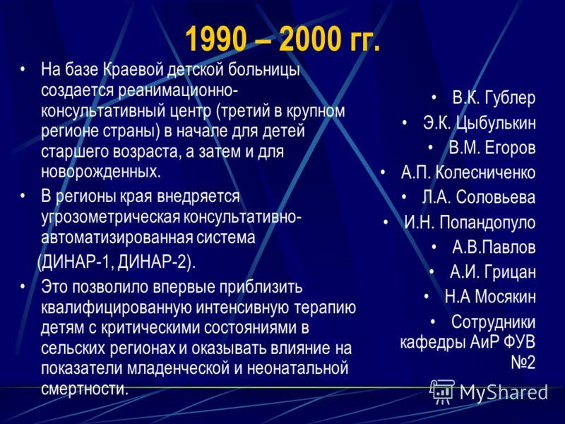 1990 – 2000 гг. На базе Краевой детской больницы создается реанимационно- консультативный центр (третий в крупном регионе страны) в начале для детей старшего возраста, а затем и для новорожденных. В регионы края внедряется угрозометрическая консульта