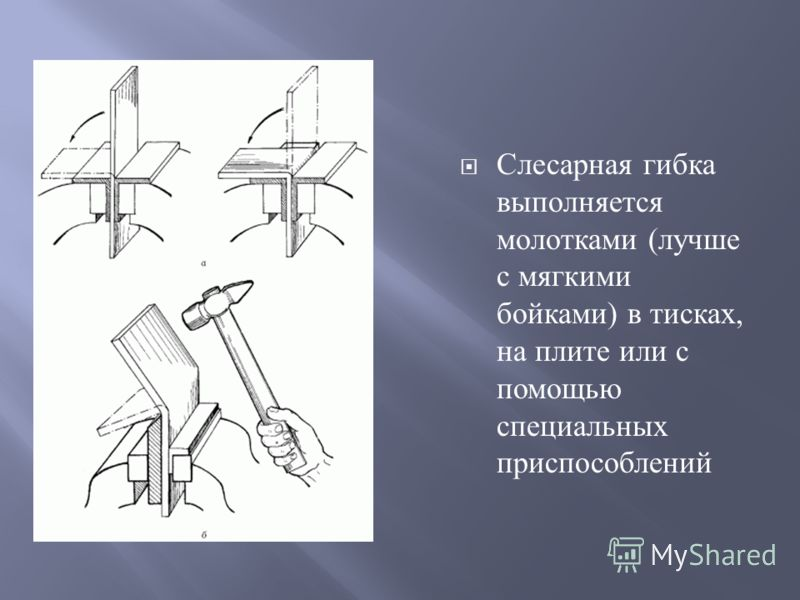 Слесарная гибка выполняется молотками ( лучше с мягкими бойками ) в тисках, на плите или с помощью специальных приспособлений