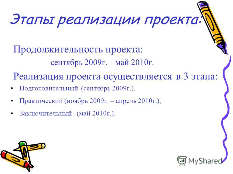 Этапы реализации проекта: Продолжительность проекта: сентябрь 2009г. – май 2010г. Реализация проекта осуществляется в 3 этапа: Подготовительный (сентябрь 2009г.), Практический (ноябрь 2009г. – апрель 2010г.), Заключительный (май 2010г.).
