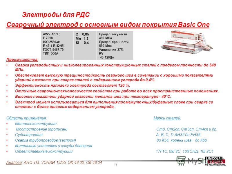 11 Электроды для РДС Сварочный электрод с основным видом покрытия Basic One Преимущества: Сварка углеродистых и низколегированных конструкционных сталей с пределом прочности до 540 МПа. Обеспечивает высокую трещиностойкость сварного шва в сочетании с