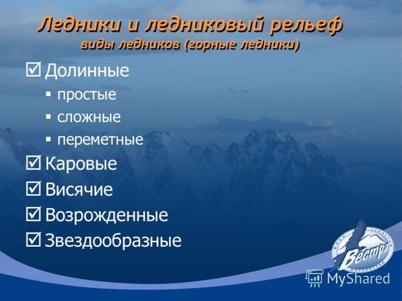 Ледники и ледниковый рельеф виды ледников (горные ледники) Долинные простые сложные переметные Каровые Висячие Возрожденные Звездообразные