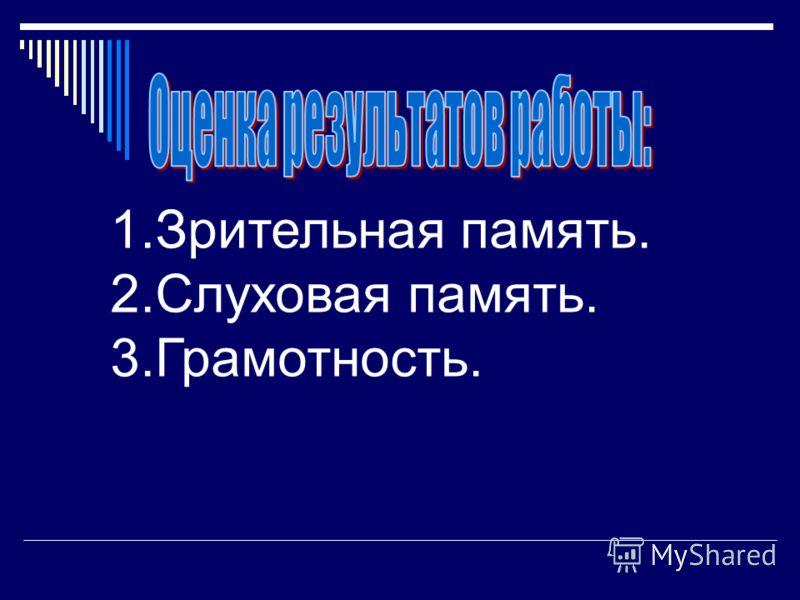 1.Зрительная память. 2.Слуховая память. 3.Грамотность.
