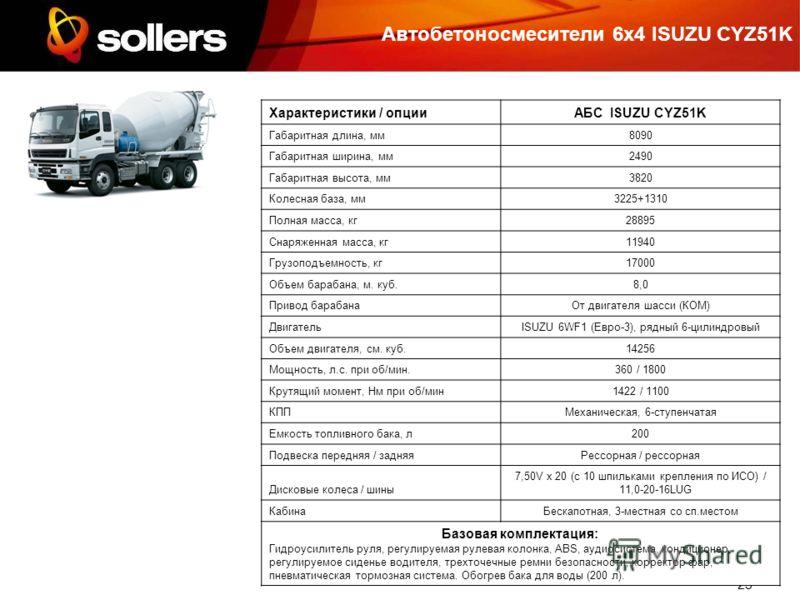 23 Автобетоносмесители 6х4 ISUZU CYZ51K Характеристики / опцииАБС ISUZU CYZ51K Габаритная длина, мм8090 Габаритная ширина, мм2490 Габаритная высота, мм3820 Колесная база, мм3225+1310 Полная масса, кг28895 Снаряженная масса, кг11940 Грузоподъемность,