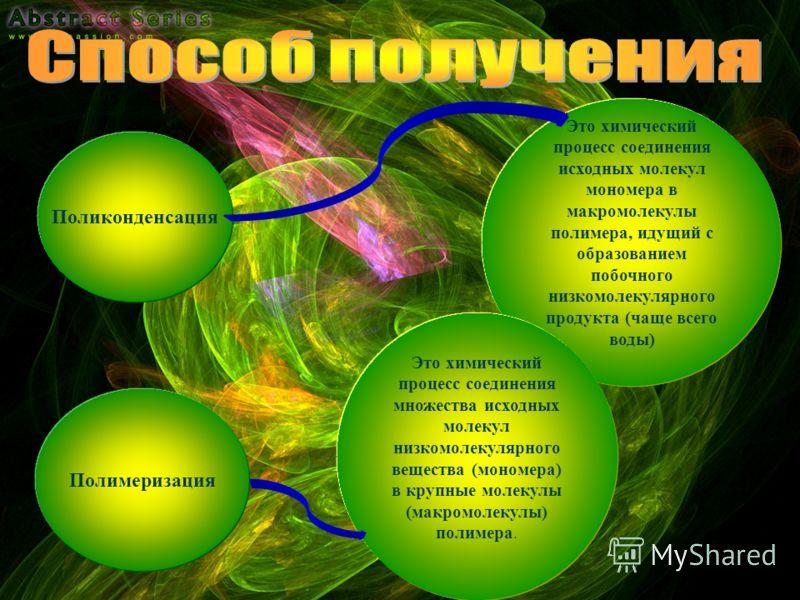 Поликонденсация Это химический процесс соединения исходных молекул мономера в макромолекулы полимера, идущий с образованием побочного низкомолекулярного продукта (чаще всего воды) Полимеризация Это химический процесс соединения множества исходных мол