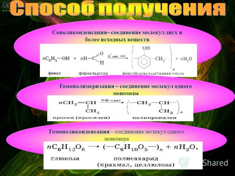 Сополиконденсация– соединение молекул двух и более исходных веществ Гомополимеризация – соединение молекул одного мономера Гомополиконденсация – соединение молекул одного мономера