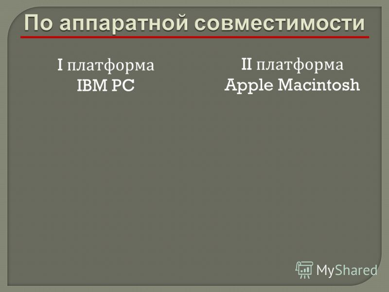 I платформа IBM PC II платформа Apple Macintosh
