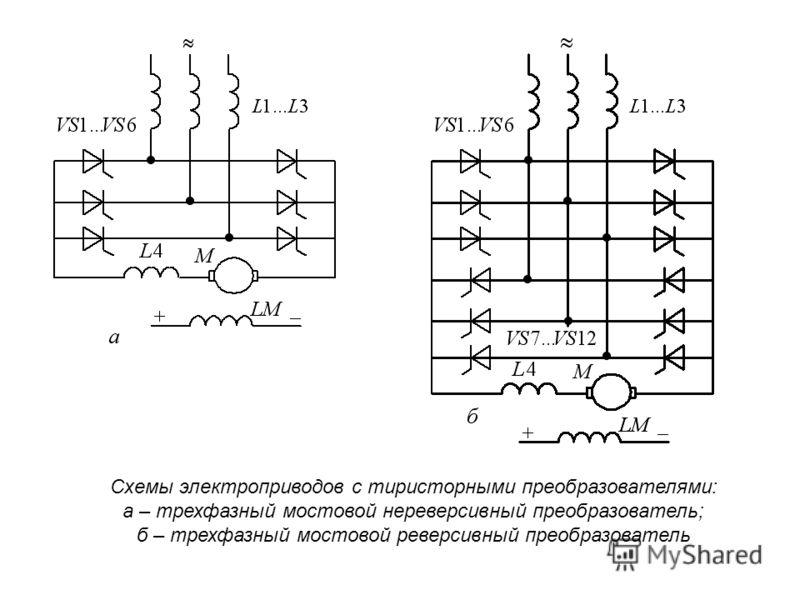 Схемы электроприводов с тиристорными преобразователями: а – трехфазный мостовой нереверсивный преобразователь; б – трехфазный мостовой реверсивный преобразователь