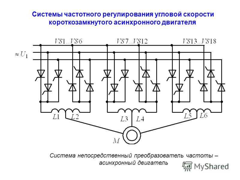 Системы частотного регулирования угловой скорости короткозамкнутого асинхронного двигателя Система непосредственный преобразователь частоты – асинхронный двигатель