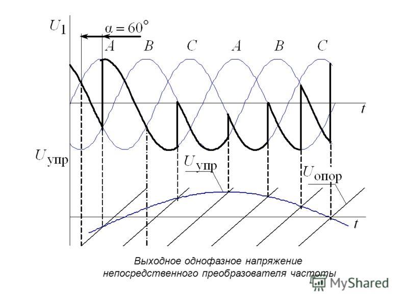 Выходное однофазное напряжение непосредственного преобразователя частоты