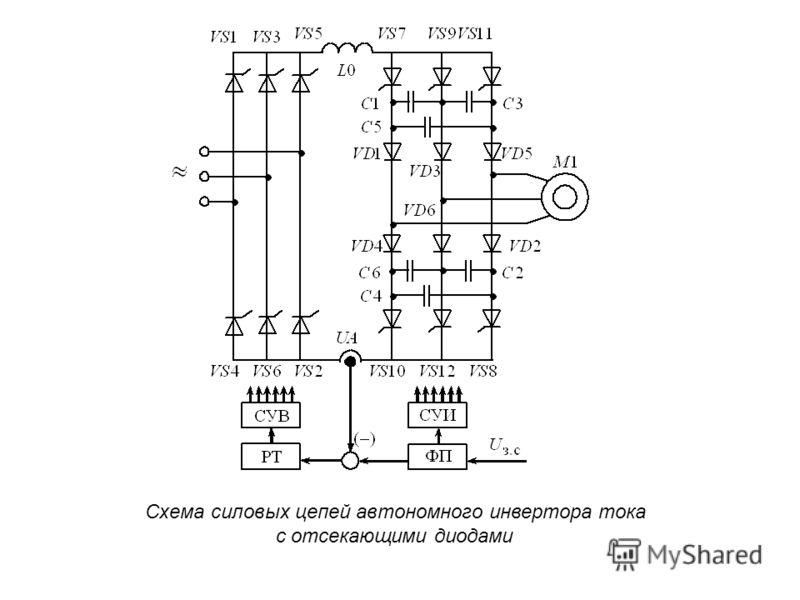 Схема силовых цепей автономного инвертора тока с отсекающими диодами