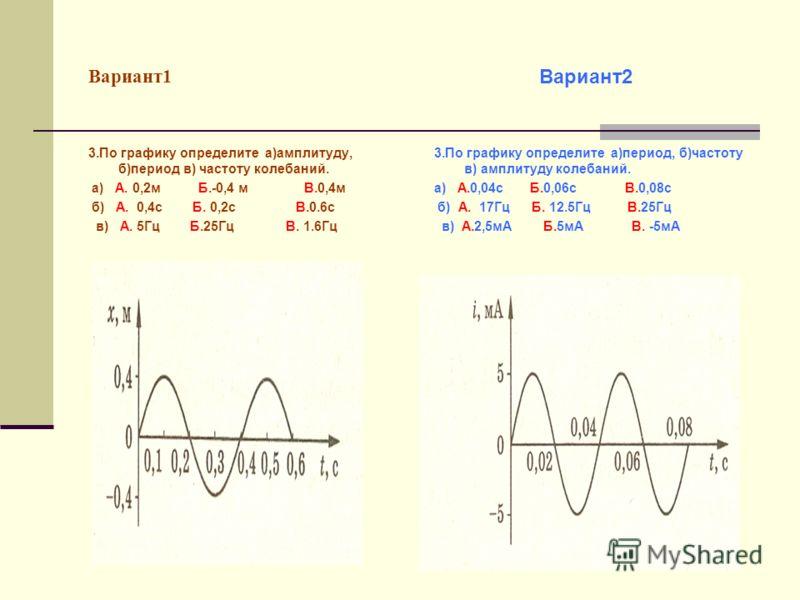 Вариант1 3.По графику определите а)амплитуду, б)период в) частоту колебаний. а) А. 0,2м Б.-0,4 м В.0,4м б) А. 0,4с Б. 0,2с В.0.6с в) А. 5Гц Б.25Гц В. 1.6Гц 3.По графику определите а)период, б)частоту в) амплитуду колебаний. а) А.0,04с Б.0,06с В.0,08с