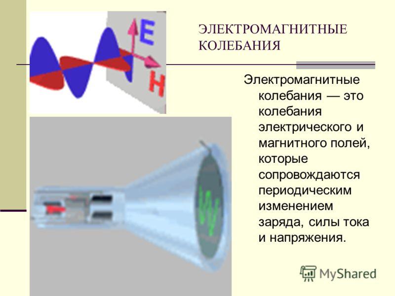 ЭЛЕКТРОМАГНИТНЫЕ КОЛЕБАНИЯ Электромагнитные колебания это колебания электрического и магнитного полей, которые сопровождаются периодическим изменением заряда, силы тока и напряжения.