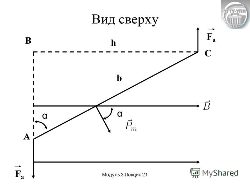 Модуль 3 Лекция 212 Вид сверху h A B C b FaFa FaFa α α