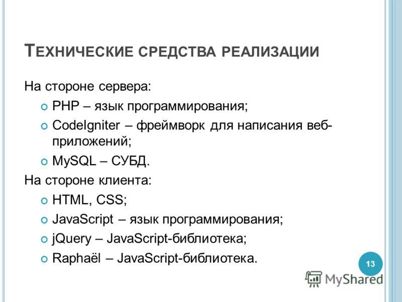 Т ЕХНИЧЕСКИЕ СРЕДСТВА РЕАЛИЗАЦИИ На стороне сервера: PHP – язык программирования; CodeIgniter – фреймворк для написания веб- приложений; MySQL – СУБД. На стороне клиента: HTML, CSS; JavaScript – язык программирования; jQuery – JavaScript-библиотека;