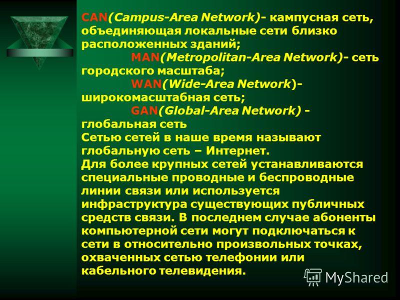 CAN(Campus-Area Network)- кампусная сеть, объединяющая локальные сети близко расположенных зданий; MAN(Metropolitan-Area Network)- сеть городского масштаба; WAN(Wide-Area Network)- широкомасштабная сеть; GAN(Global-Area Network) - глобальная сеть Сет