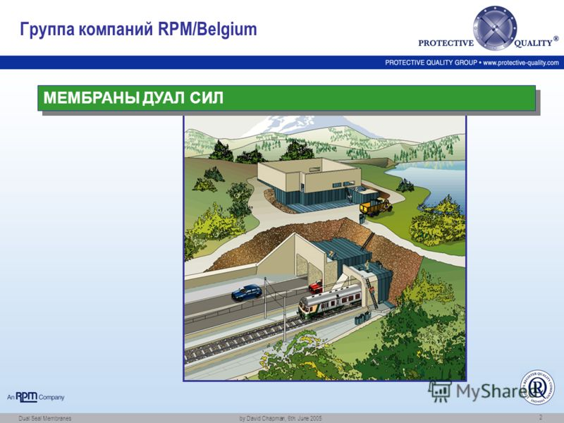 Dual Seal Membranes by David Chapman, 6th. June 2005 2 Группа компаний RPM/Belgium МЕМБРАНЫ ДУАЛ СИЛ