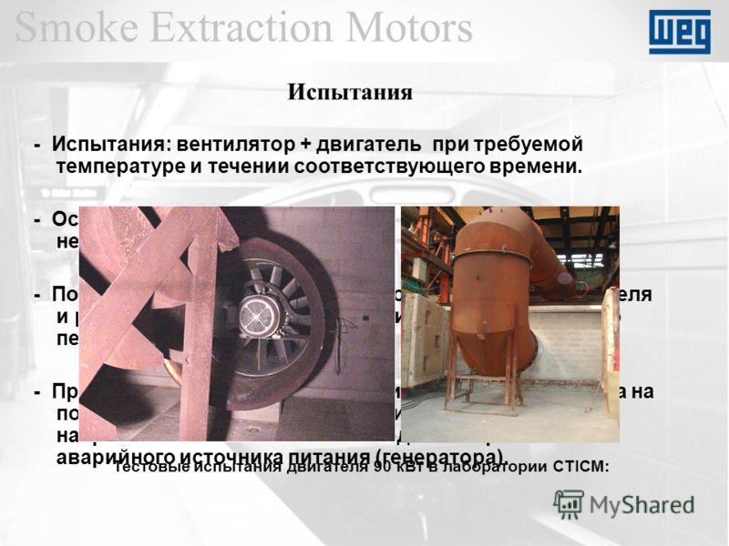 Smoke Extraction Motors - Испытания: вентилятор + двигатель при требуемой температуре и течении соответствующего времени. - Остановка двигателя на 2 минуты после 15 минутной непрырывной работы. - После двухминутной остановки повторный пуск двигателя