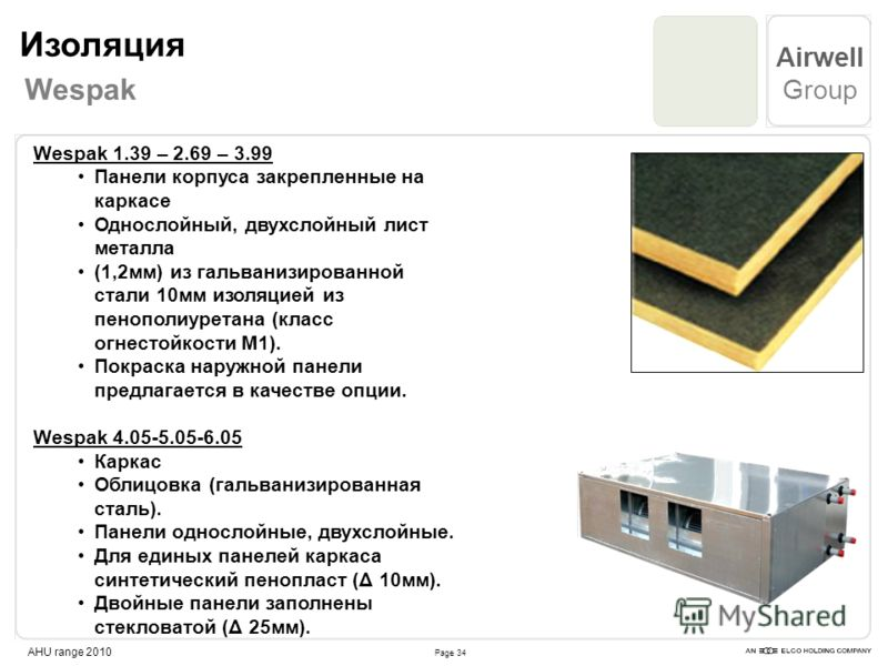Page 34 Airwell Group AHU range 2010 Wespak 1.39 – 2.69 – 3.99 Панели корпуса закрепленные на каркасе Однослойный, двухслойный лист металла (1,2мм) из гальванизированной стали 10мм изоляцией из пенополиуретана (класс огнестойкости М1). Покраска наруж