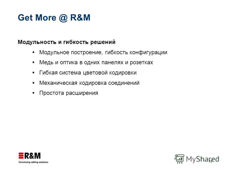 11 Get More @ R&M Модульность и гибкость решений Модульное построение, гибкость конфигурации Медь и оптика в одних панелях и розетках Гибкая система цветовой кодировки Механическая кодировка соединений Простота расширения