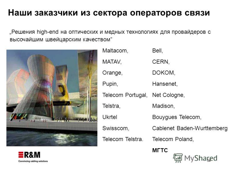 34 Наши заказчики из сектора операторов связи Решения high-end на оптических и медных технологиях для провайдеров с высочайшим швейцарским качеством Maltacom, MATAV, Orange, Pupin, Telecom Portugal, Telstra, Ukrtel Swisscom, Telecom Telstra. Bell, CE