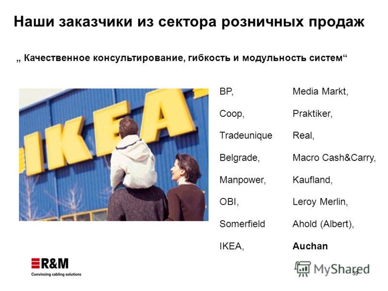 39 Наши заказчики из сектора розничных продаж BP, Coop, Tradeunique Belgrade, Manpower, OBI, Somerfield IKEA, Качественное консультирование, гибкость и модульность систем Media Markt, Praktiker, Real, Macro Cash&Carry, Kaufland, Leroy Merlin, Ahold (