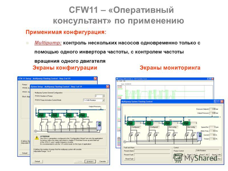 Multipump: контроль нескольких насосов одновременно только с помощью одного инвертора частоты, с контролем частоты вращения одного двигателя. CFW11 – «Оперативный консультант» по применению Применимая конфигурация: Surface Winder: контроль натяжения