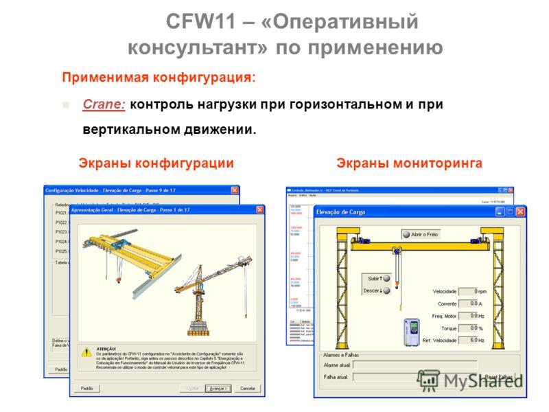 Применимая конфигурация: Center Winder: контроль натяжения намотки таких материалов, как бумага, пластик или металлов, с роликом, приводящимся в действие напрямую от вала. Экраны конфигурацииЭкраны мониторинга CFW11 – «Оперативный консультант» по при